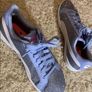Periwinkle blue glitter Puma sneakers